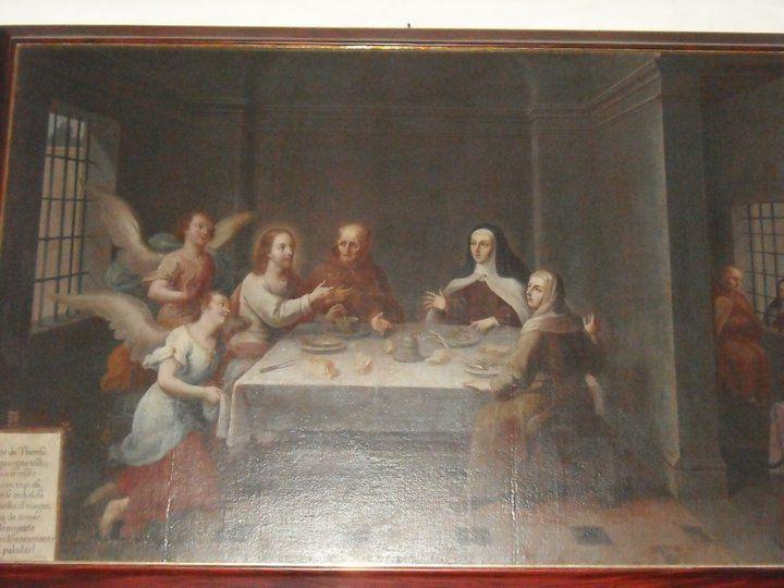Cena de Jesús con San Pedro de Alcántara, Santa Teresa de Jesús y Santa Rosa de Viterbo asistidos por Ángeles