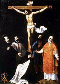 Santa Teresa de Ávila, San Francisco Javier, San Felipe Neri, San Ignacio de Loyola y de San Isidro Labrador a los pies de Nuestro Señor Jesucristo.