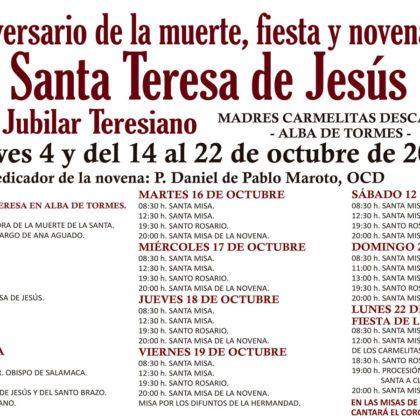 Aniversario de la Muerte, fiesta y novena de Santa Teresa de Jesús